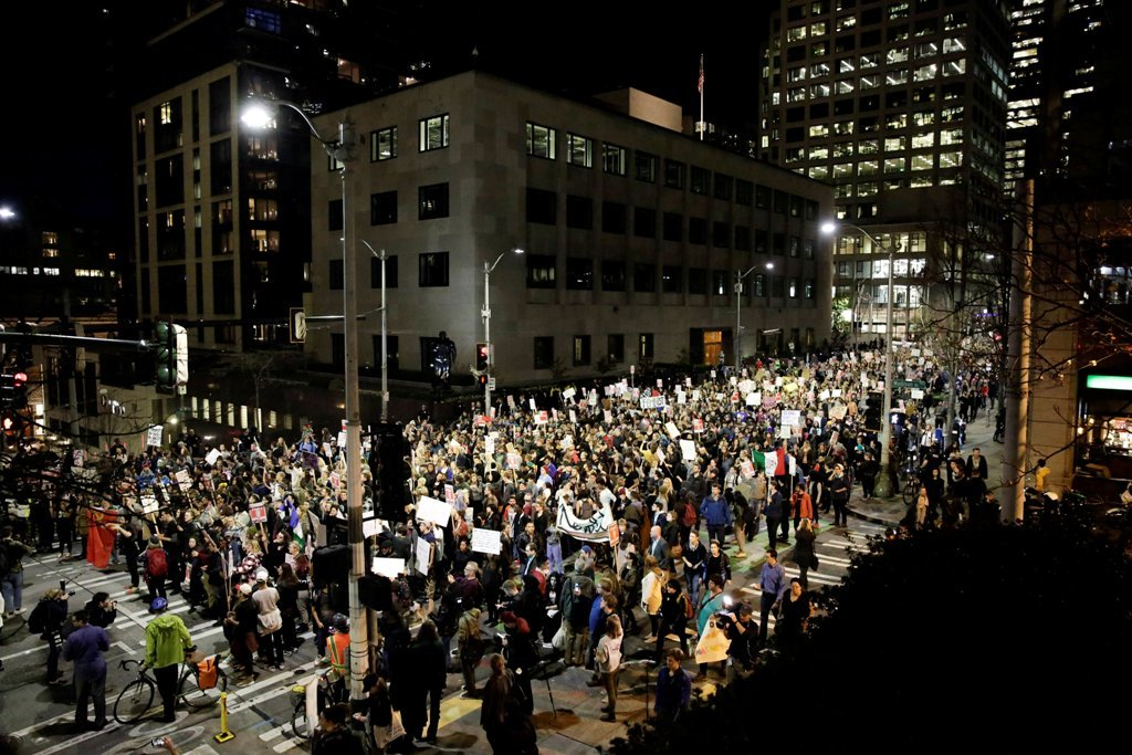 People march in protest to the election of Republican Donald Trump as the president of the United States in Seattle, Washington