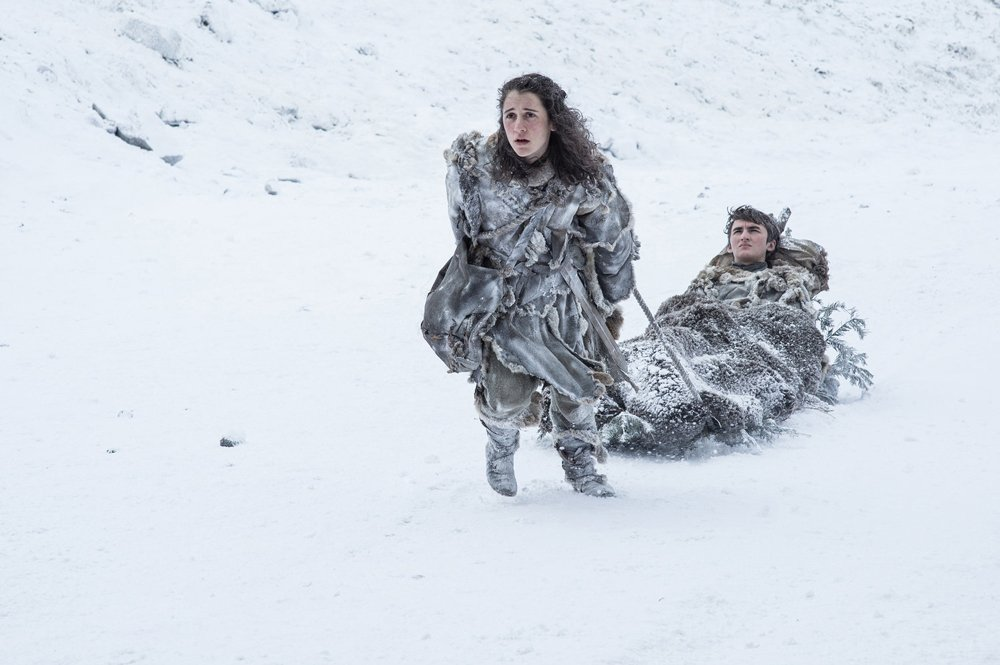Ellie Kendrick as Meera Reed and Isaac Hempstead Wright as Bran Stark - Photo: Helen Sloan/HBO