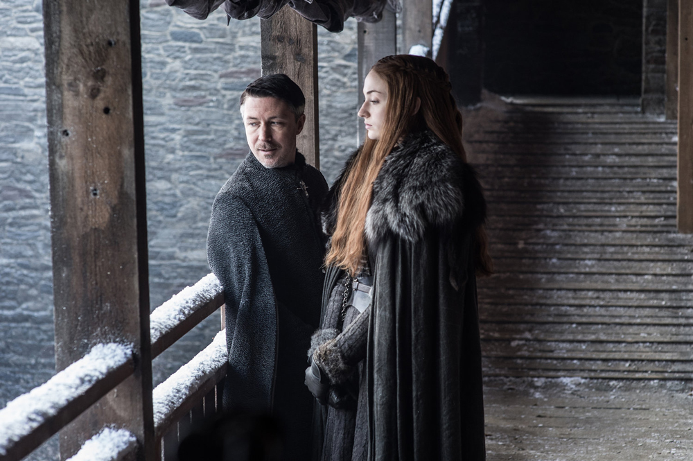 "1.Aidan Gillen as Petyr ""Littlefinger"" Baelish and Sophie Turner as Sansa Stark - Photo: Helen Sloan/HBO"