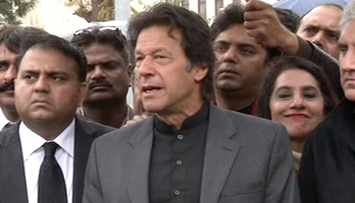 PTI chief Imran Khan speaks outside the Supreme Court