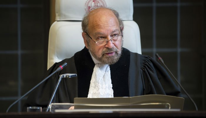 H.E. Judge Ronny Abraham, President of the Court, during the hearing.