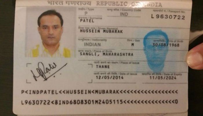 An image of a fake passport Jadhav was found in possession of at the time of his arrest from Balochistan, Pakistan on March 3, 2016.
