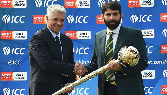 Misbah with the ICC Test Championship mace after Pakistan secured the No1 ranking in September 2016
