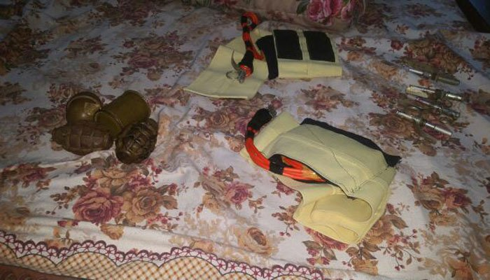 An ISPR handout photo shows explosives recovered from the house where terrorists were staying