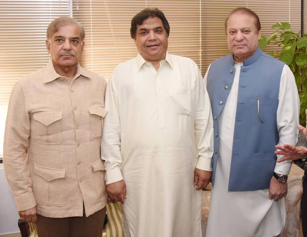 PM Nawaz pictured with Shehbaz Sharif and Hanif Abbasi
