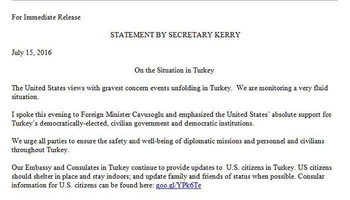 Statement by US Secretary of State
