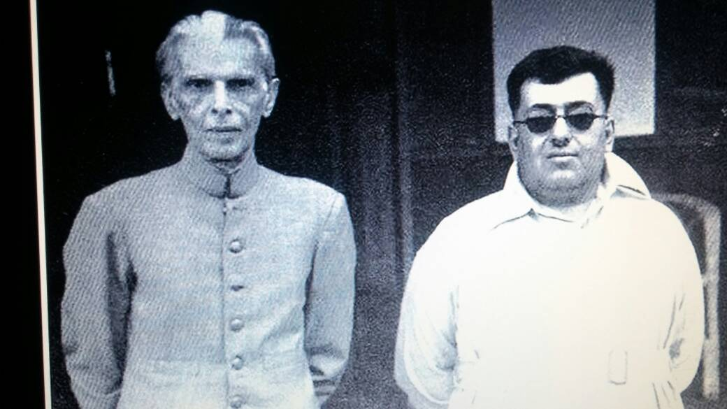 The then Khan of Kalat, Mir Ahmed Yar Khan (right), with Muhammad Ali Jinnah (left) during the latter