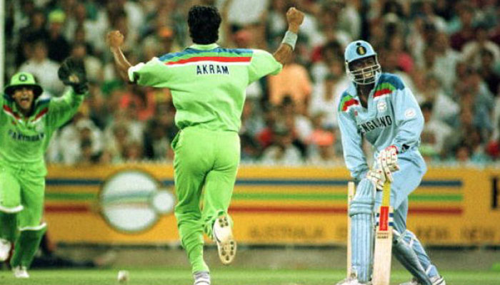 Wasim Akram was Man of the Match in 1992 World Cup final for his all round performance. (Photo - Geo TV)