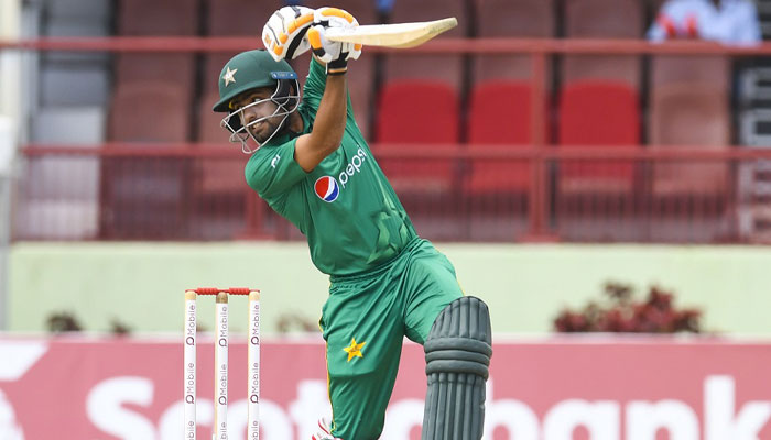 Babar Azam plays a shot on his way to 125 not out during 2nd ODI/AFP