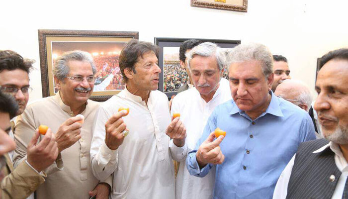 PTI leadership celebrating Panama Leaks case verdict
