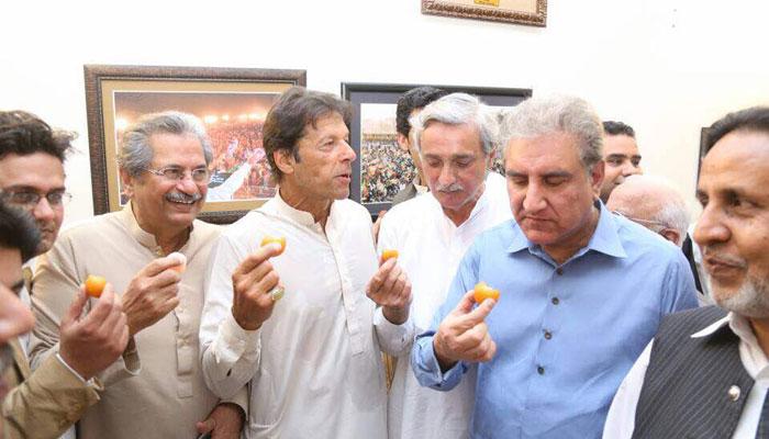 PTI leadership celebrating Panama Leaks case verdict
