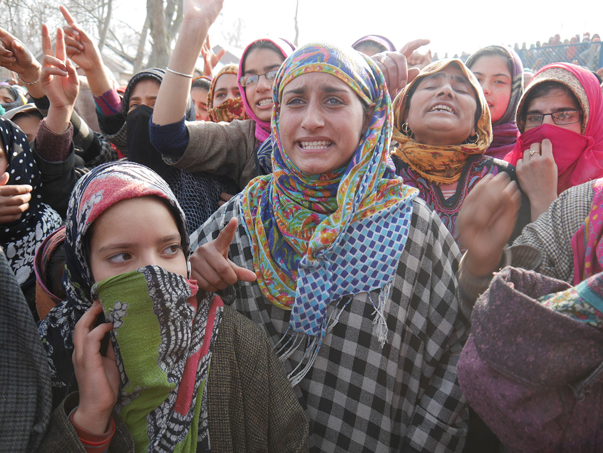 Kashmiri women at a protest against continuing Indian atrocities - Al Jazeera
