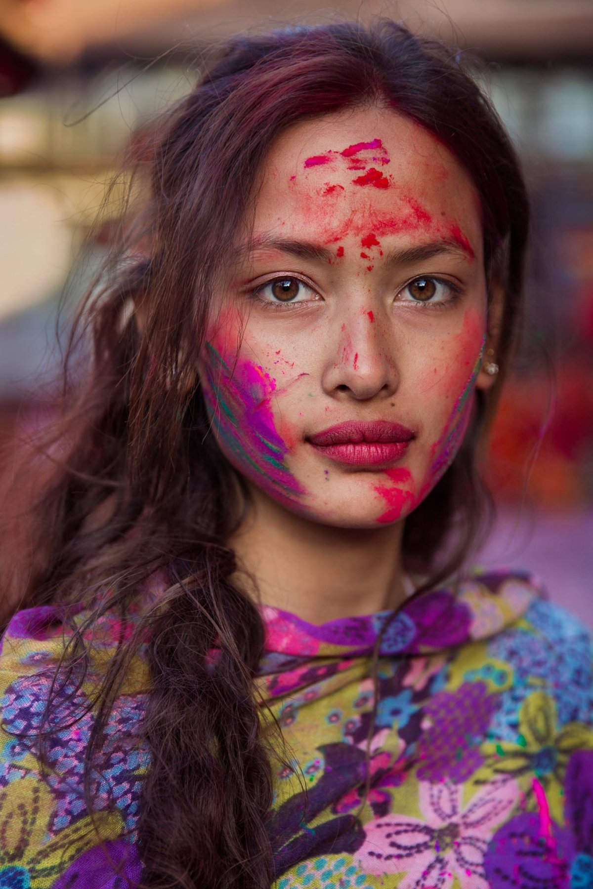 Sona during the Holi festival in Kathmandu, Nepal photographed by Mihaela Noroc
