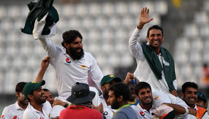 Pakistan team celebrates historic win against the West Indies/AFP