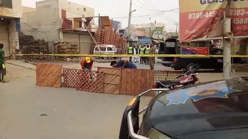 Rescue teams near the blast site