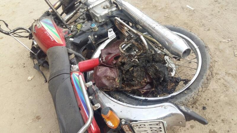 A destroyed bike at the blast site