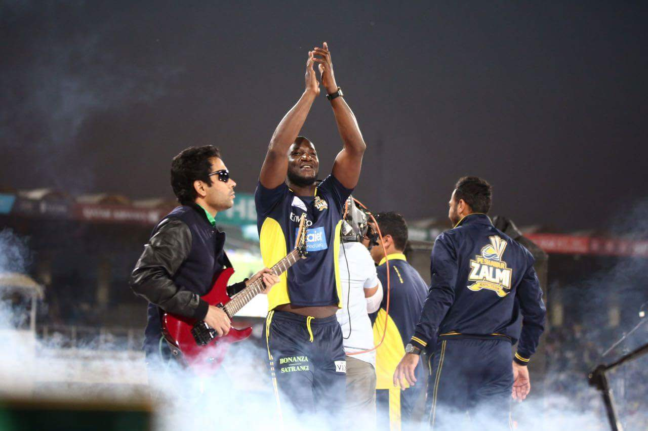 Warming up for the match by dancing to the tunes of the music at the PSL 2017 opening ceremonymony