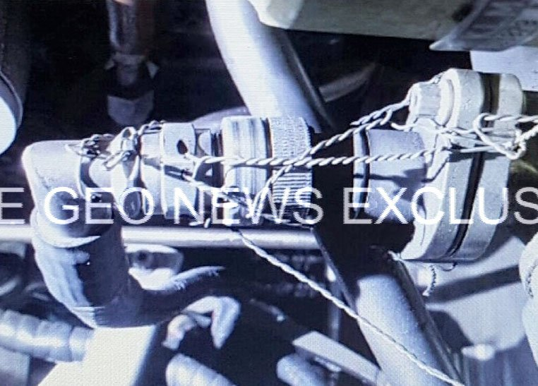 The image sent to Geo News by a responsible Shaheen Air official of the faulty engine part