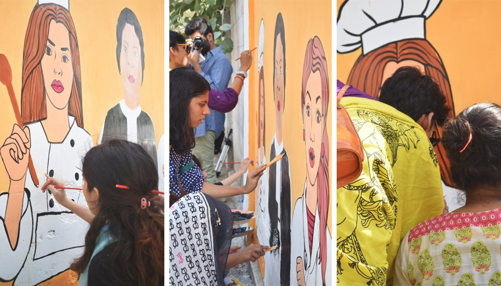 Rajaa paints Mohni (L); Students busy painting the mural (C); Mohni helps paint the wall – Karachi, Pakistan, May 16, 2017