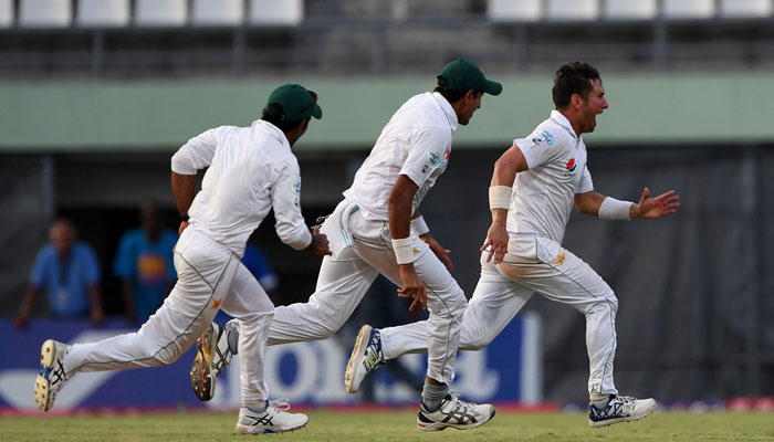 Yasir Shah celebrates the final wicket, 3rd Test/AFP