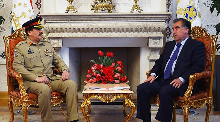 Gen Raheel discusses Afghan peace, terror fight with Tajik president