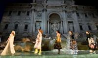 Fendi models walk on water in Rome´s Trevi fountain