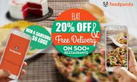 foodpanda offers Flat 20% Discount & Free Delivery