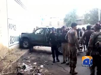 Two army personnel martyred in Karachi gun attack.