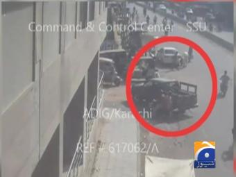 Geo News obtains CCTV footage of firing on military soldiers in Karachi