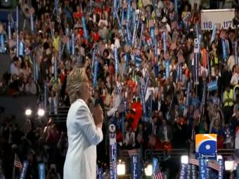 Accepting the nomination, Clinton casts herself as clear-eyed leader.