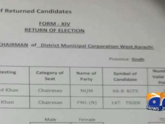 MQM candidate's victory declared void in Karachi West district's vote recount.