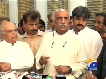 Get out on bail and run Karachi as a free man: Khursheed Shah to Waseem Akhtar.