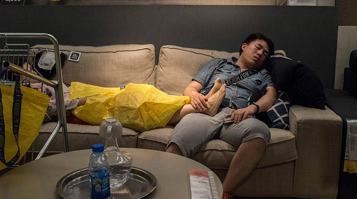 Napping at Ikea in China, not uncommon