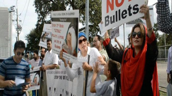 US Kashmiris protest in front of Indian Embassy in Houston