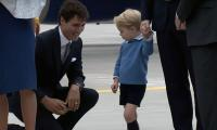 Young Prince George shuns high-five, low-five from Canada's Trudeau
