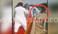 VIDEO: Man falls off stage during PTI rally
