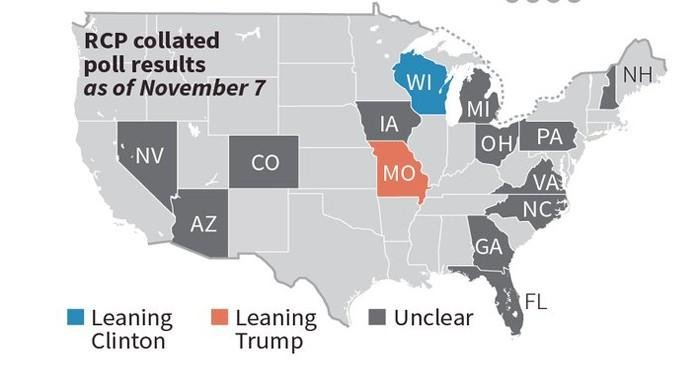 Infographic Swing States To Watch In US Elections World Geotv - Map of swing states in the us