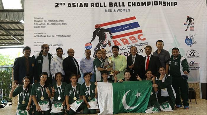 Pakistani women's team bag gold at Bangkok in 2nd Asian Roll Ball Championship