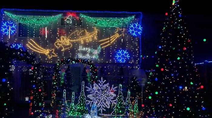 Birmingham man transforms back garden into north pole with Christmas lights