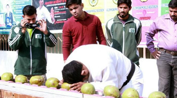 Pakistani breaks 43 coconuts in 60 seconds to make new record
