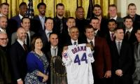 Obama fetes world-champion Chicago Cubs, his (wife's) favorite