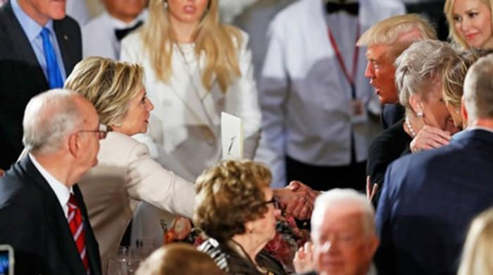 Trump leads standing ovation for Hillary Clinton