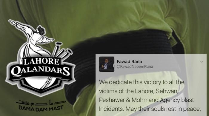 Lahore Qalandars dedicate win to the victims of recent terror attacks in Pakistan