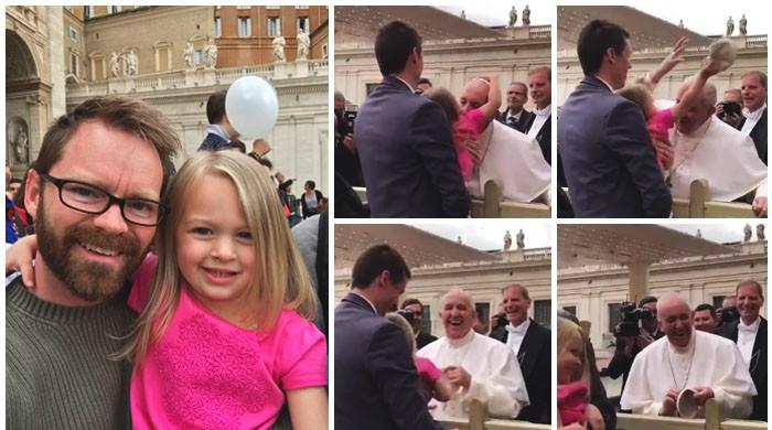 Gotcha! Girl swipes off Pope's hat on first meeting