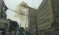 Blaze reignites in building on Karachi's I.I. Chundrigar Road
