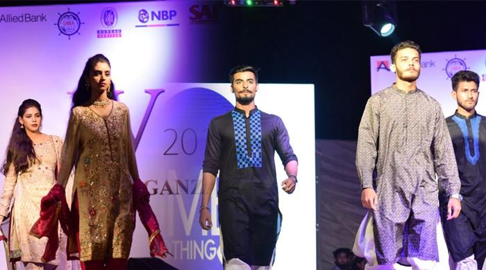 Aspiring student-models walk runway in dazzling fashion show in Karachi
