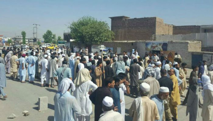 People staged a protest against unannounced load shedding on Peshawar's Ring Road.
