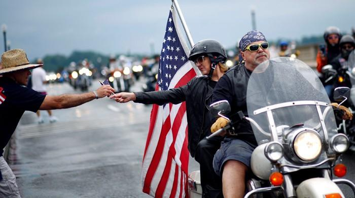 Biker with GoPro camera captures Rolling Thunder rally