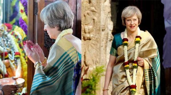 British Prime Minister Theresa May dons sari to star in Hindi music video