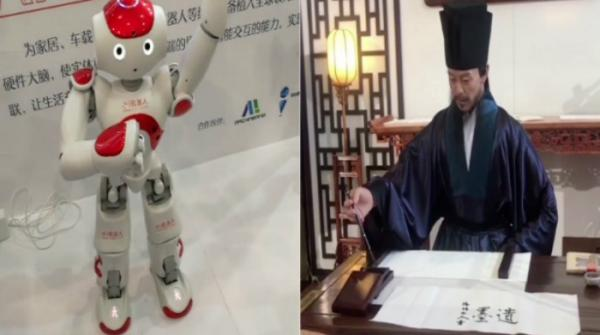 Robots doing Michael Jackson signature dance moves and practicing calligraphy